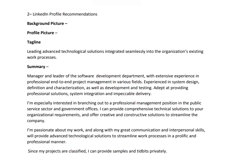 Linkedin Profile Summary Sample
