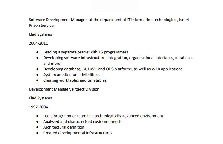 Linkedin Profile Experience Sample